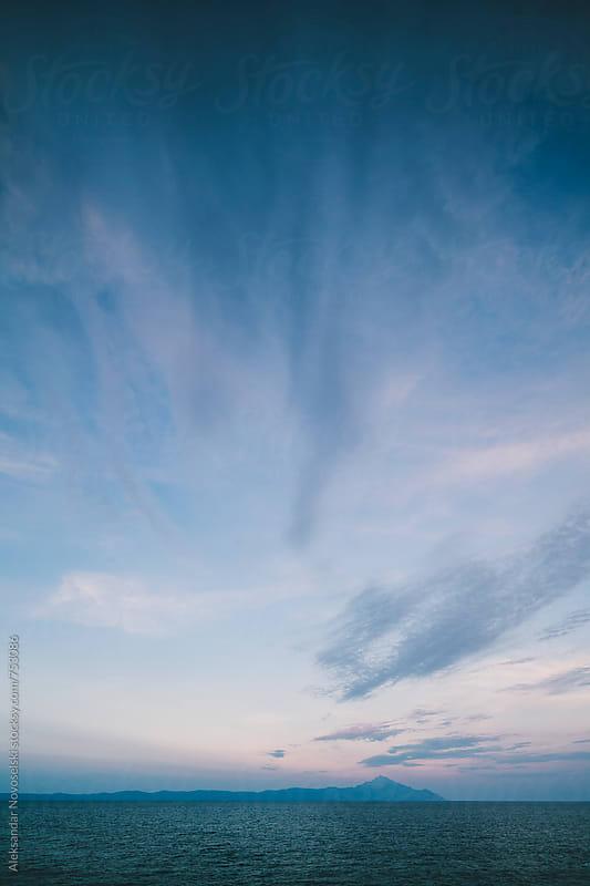 Minimalist seascape in Greece by dusk by Aleksandar Novoselski for Stocksy United