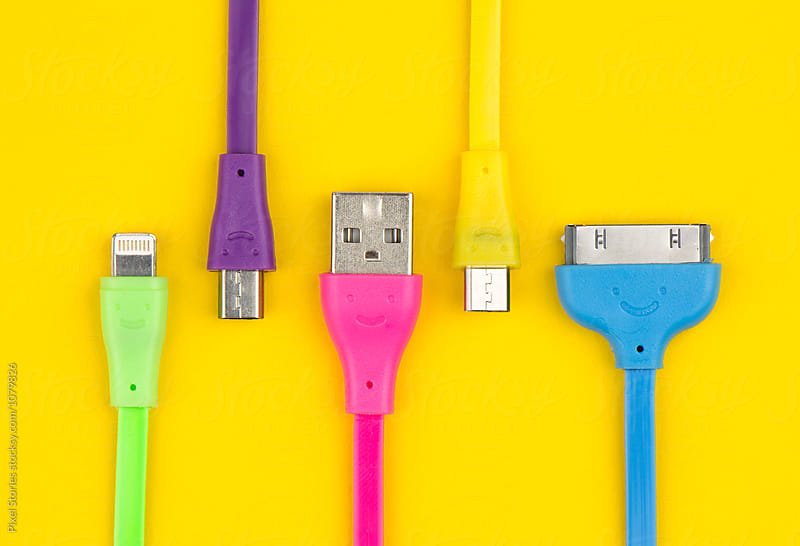 Colorful computer connectors by Pixel Stories for Stocksy United