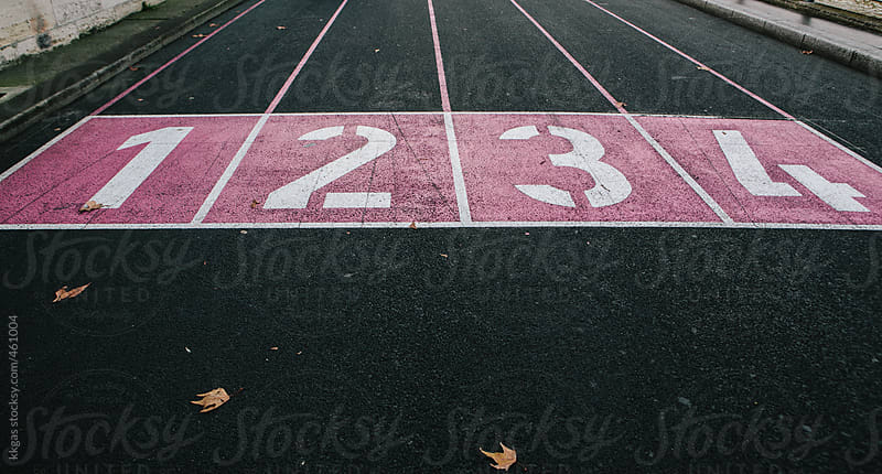 Track numbers 1-4 marked in pink by kkgas for Stocksy United