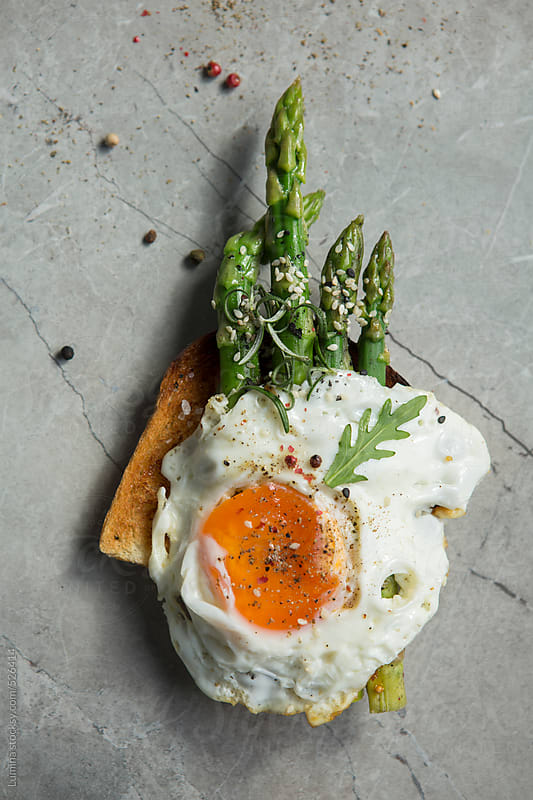 Fried Egg and Asparagus Toast Sandwich by Lumina for Stocksy United