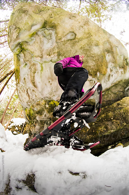 Active Outdoor Winter Lifestyle Woman Snowshoeing  With Snowshoe by JP Danko for Stocksy United