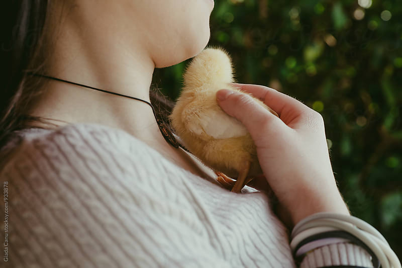Young woman taking care of a baby chick by Giada Canu for Stocksy United
