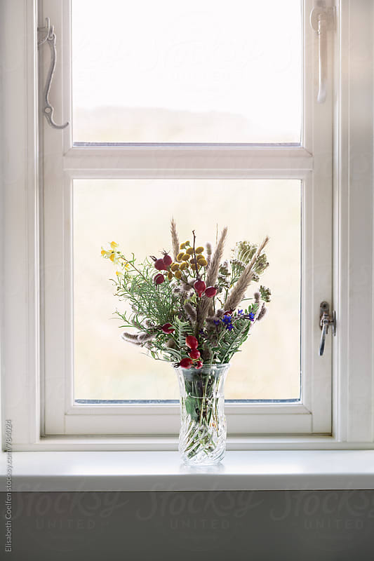 Wooden window with a bouquet of wild flowers found in the dunes in a window by Elisabeth Coelfen for Stocksy United