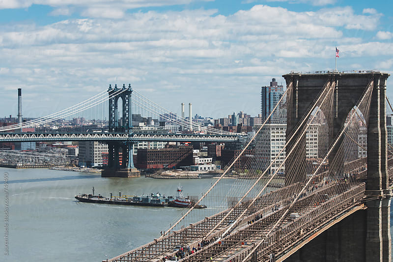 New York City bridges, river and skyline by Lauren Naefe for Stocksy United