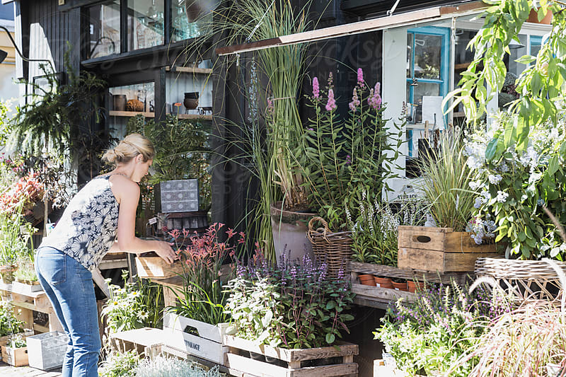 Woman arranging plants and flowers in front of a shop by Lior + Lone for Stocksy United