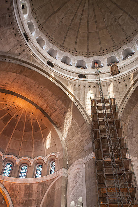 Construction of interior of  St.Sava's temple. by Audrey Shtecinjo for Stocksy United