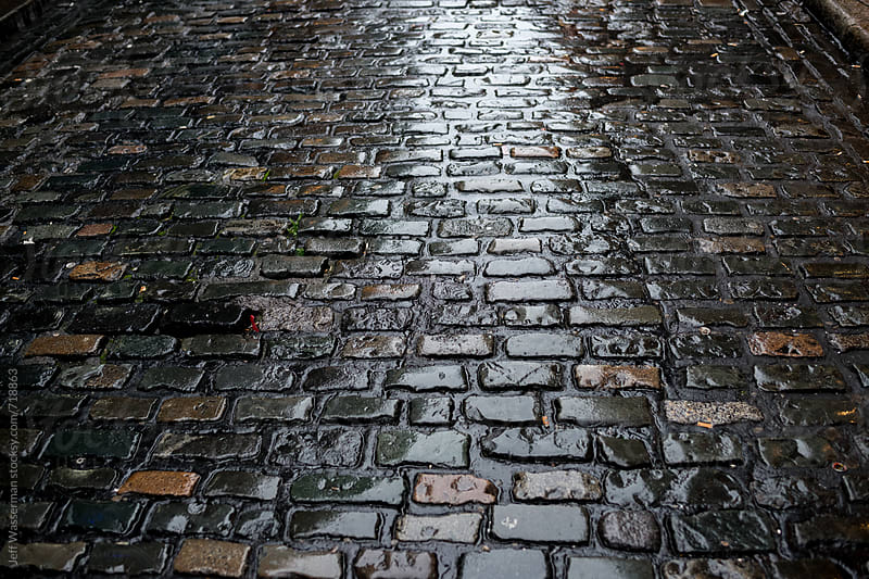 Wet Cobblestone Street at Night by Studio Six for Stocksy United