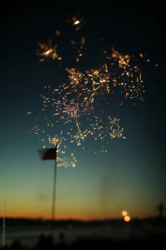 Flag and Fireworks by Kevin Russ for Stocksy United