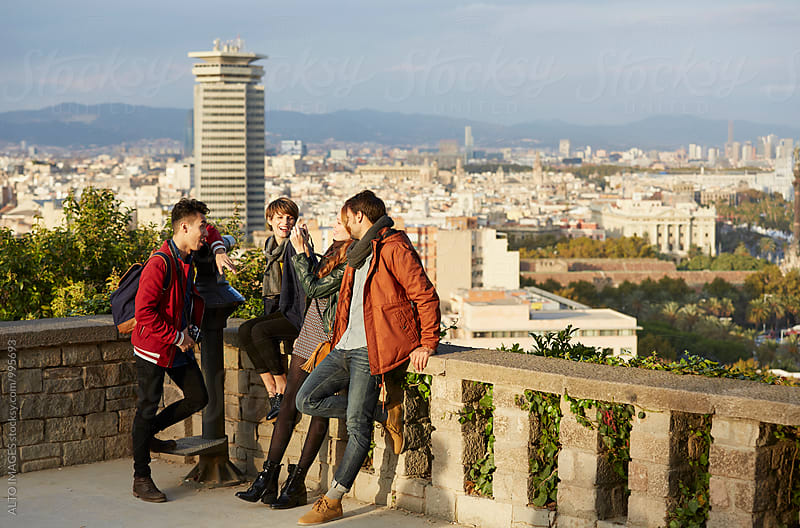 Cheerful Multi-Ethnic Friends At Observation Point by ALTO IMAGES for Stocksy United