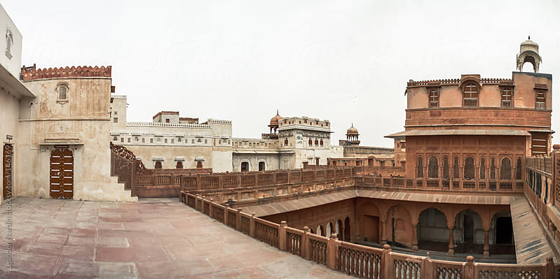 panorama shot of the patio of the fort junagarh in bikaner by Leander Nardin for Stocksy United