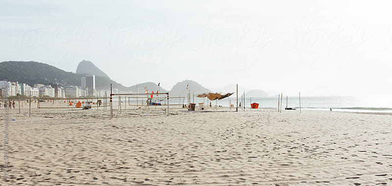 Rio de Janeiro - Empty Copacabana Beach With Sugarloaf in Background by VISUALSPECTRUM for Stocksy United