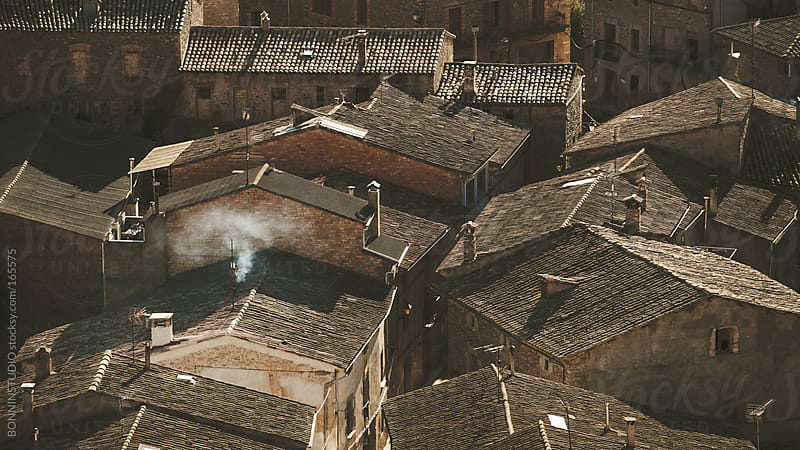 Roofs of rural houses on winter. Orista, Catalunya, Spain. by BONNINSTUDIO for Stocksy United