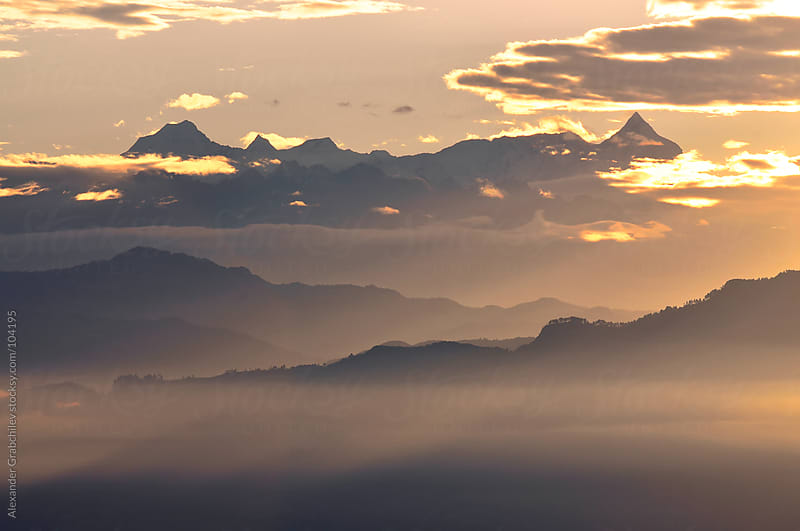 Sunrise over the Himalayas by Alexander Grabchilev for Stocksy United
