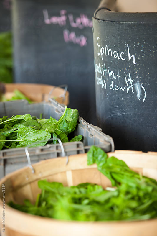 Spinach and Leaf Vegitables at Local Farmers Market by Brian McEntire for Stocksy United