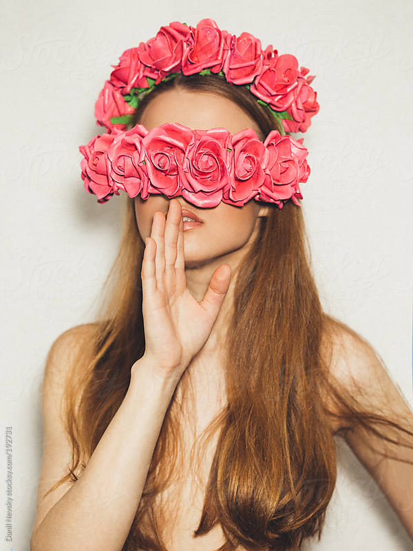 Woman with flowers on face by Danil Nevsky for Stocksy United