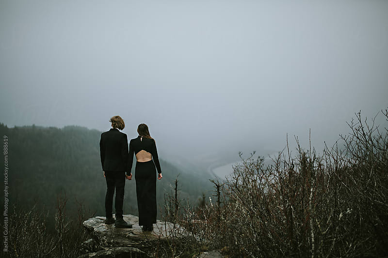 Bride and Groom Eloping on a Mountain by Rachel Gulotta Photography for Stocksy United