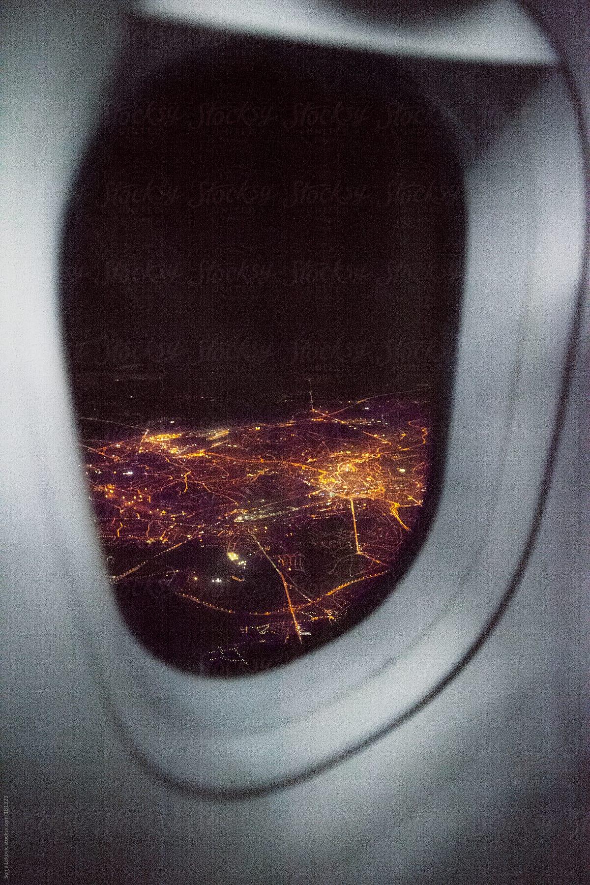 City Lights At Night Through An Airplane Window By Sonja Lekovic