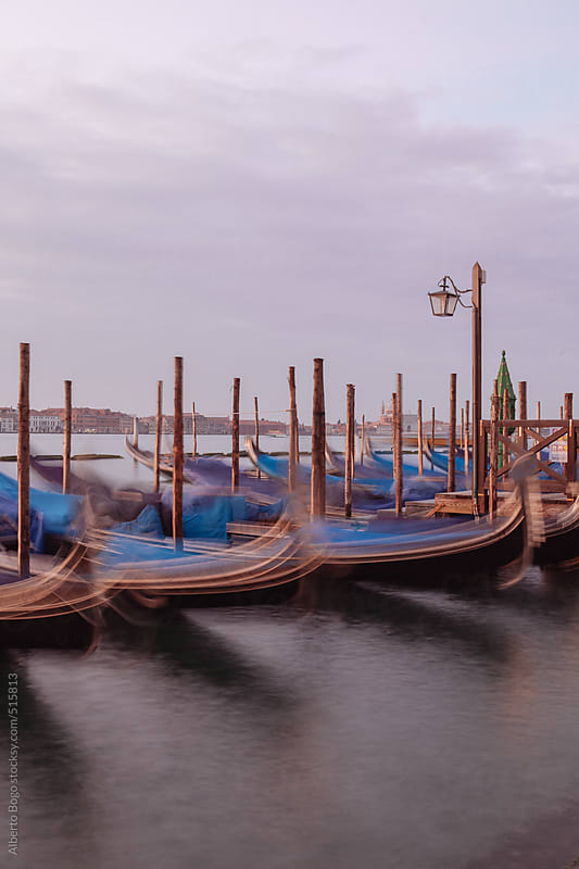Quay at St Mark's Square with Gondolas by Alberto Bogo for Stocksy United