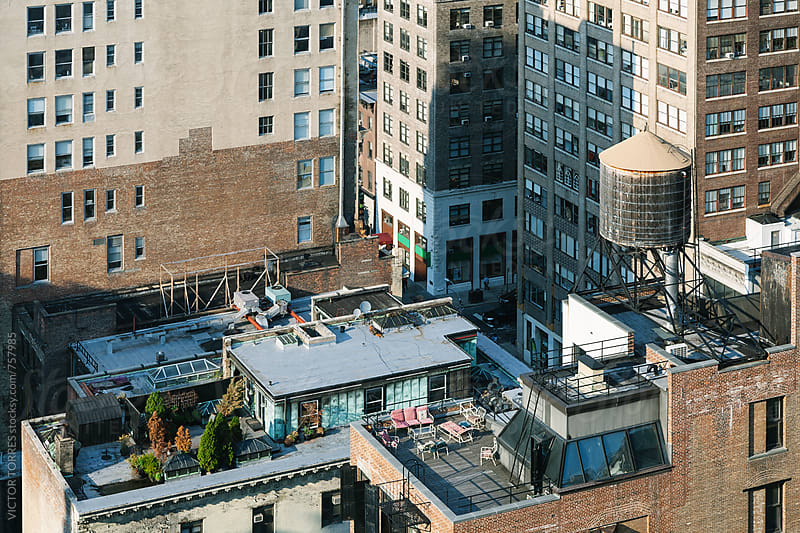 Big Water Tank in New York Roofs by Victor Torres for Stocksy United
