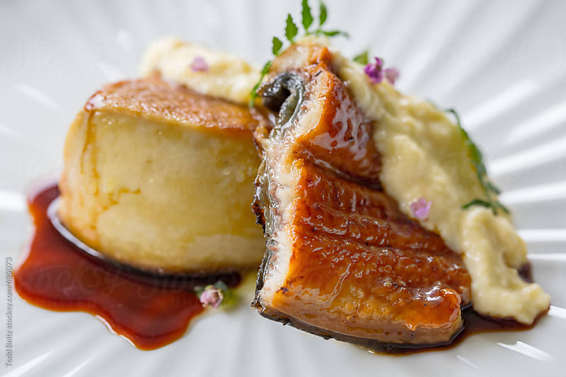 Foie Gras Unagi with scrambled egg by Todd Beltz for Stocksy United