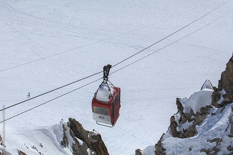 Cable car in Aiguille du Midi mountain, France by Luca Pierro for Stocksy United
