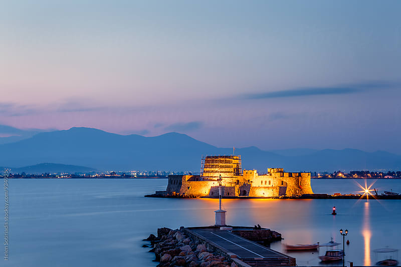 Seascape with Bourtzi Castle during Blue Hour by Helen Sotiriadis for Stocksy United
