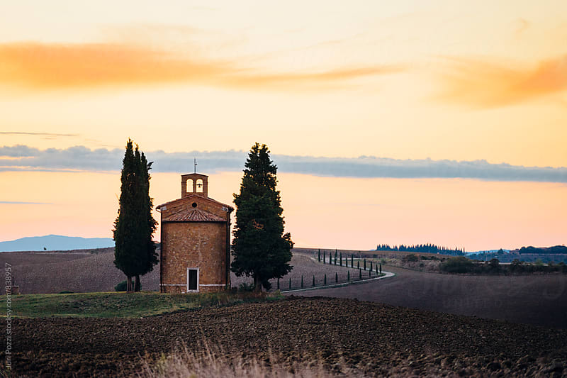 Little church in typical Tuscany landscape by Juri Pozzi for Stocksy United