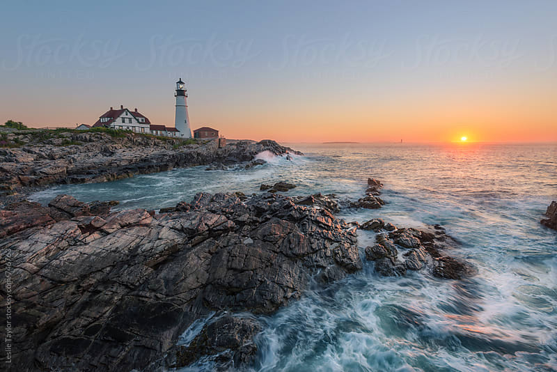 Sunrise At The Portland Head Lighthouse by Leslie Taylor for Stocksy United