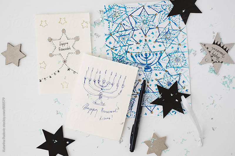 Handwritten DIY Hanukkah Holiday Cards with Star Ornaments by Katarina Radovic for Stocksy United