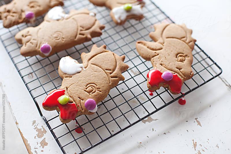 Christmas gingerbread reindeer cookies on rack by Natalie JEFFCOTT for Stocksy United