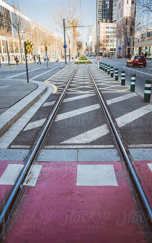 Tram tracks in Barcelona by ACALU Studio for Stocksy United