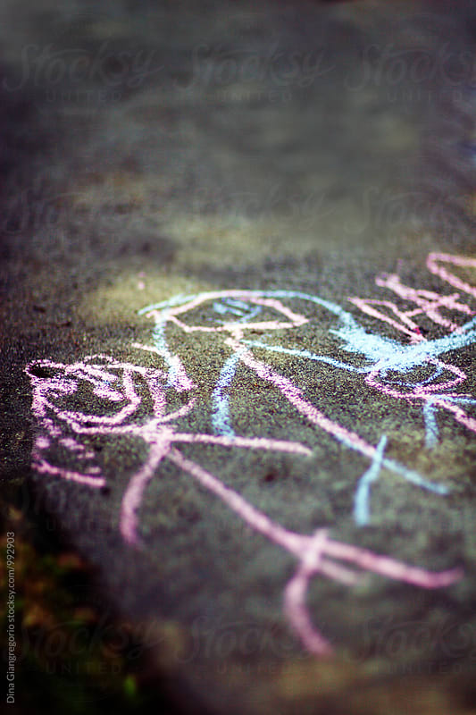 Close Up Image of Colored Chalk Drawing On Sidewalk by Dina Giangregorio for Stocksy United
