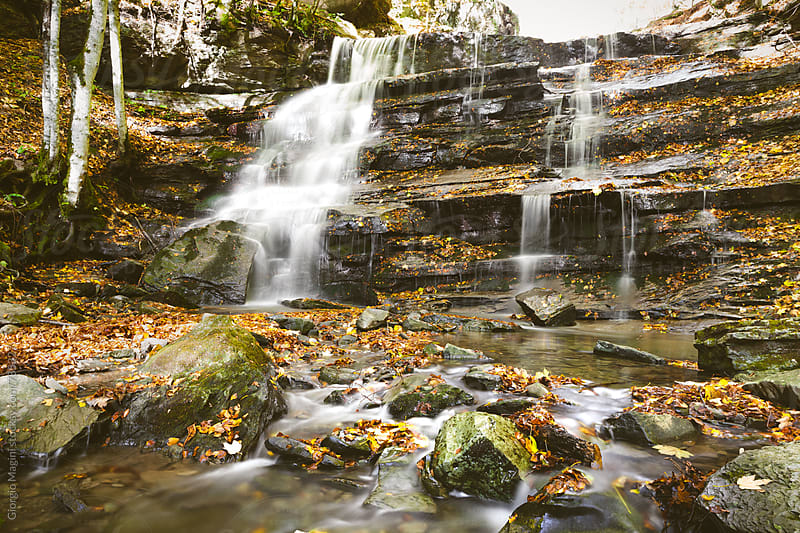 Small Waterfall during Autumn in Tuscany by Giorgio Magini for Stocksy United