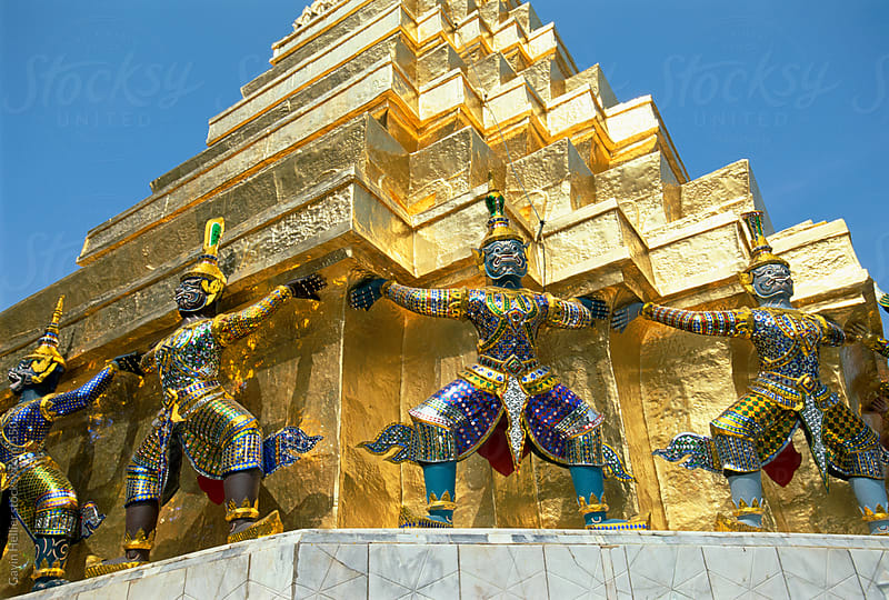 Statues in Wat Phra Kaeo, Grand Palace, Bangkok, Thailand, Southeast Asia by Gavin Hellier for Stocksy United