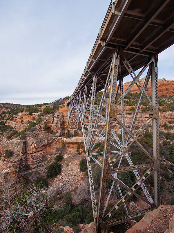 Massive steel bridge over canyon in Sedona, Arizona by Jeremy Pawlowski for Stocksy United