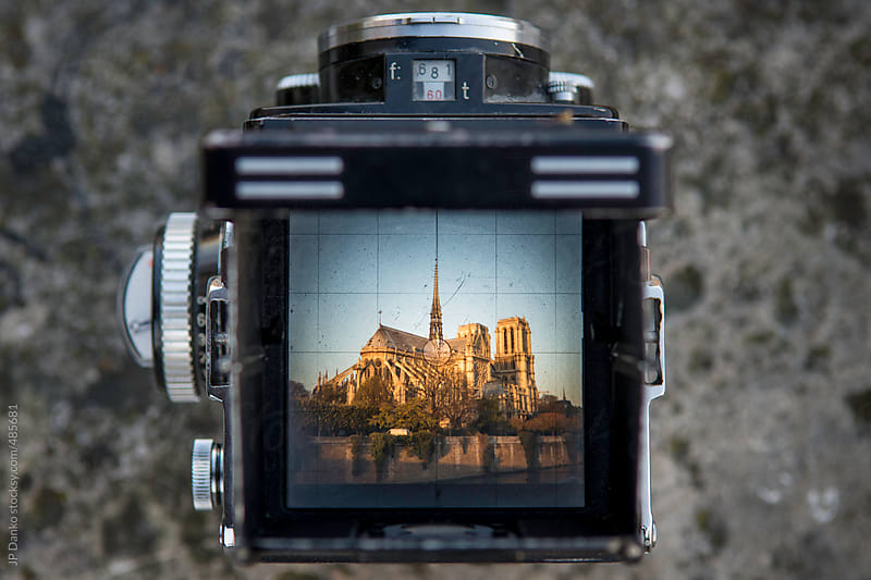 Vintage Film Medium Format Camera Photographing Notre Dame de Paris by JP Danko for Stocksy United