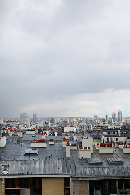 Looking Over The Rooftops Of Paris France On A Gray Day by ALICIA BOCK for Stocksy United