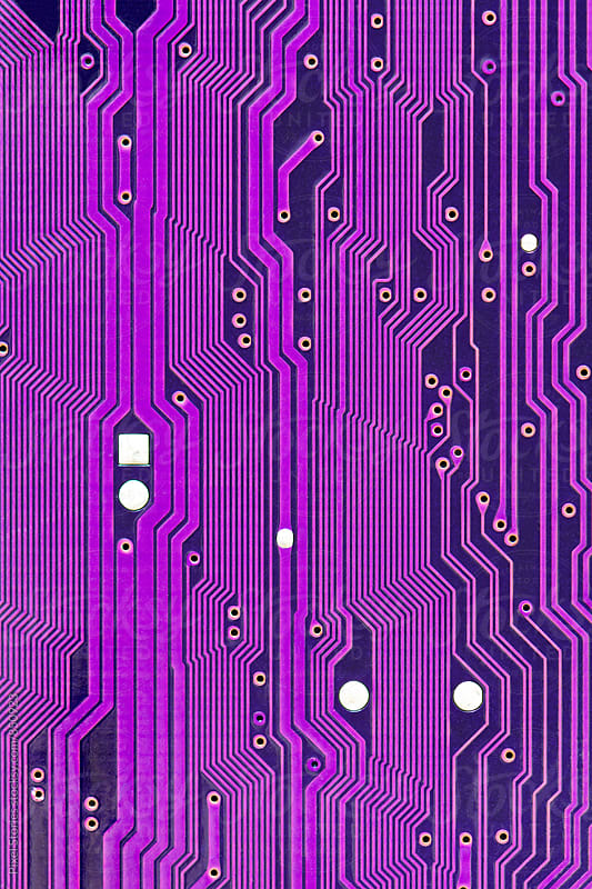 Purple printed circuit board macro by Pixel Stories for Stocksy United