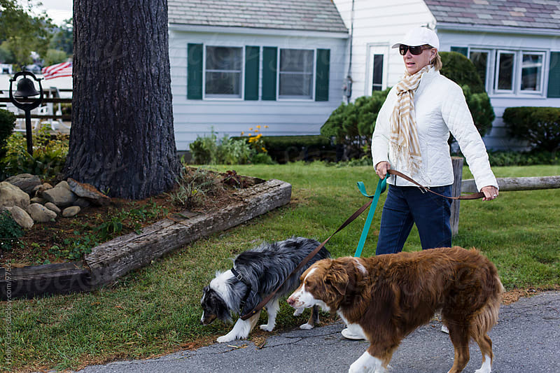 A woman walks her dogs down the street. by Holly Clark for Stocksy United
