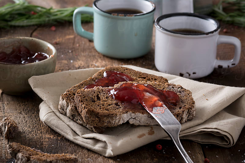 Breakfast: Espresso with Toast and Jam by Jeff Wasserman for Stocksy United