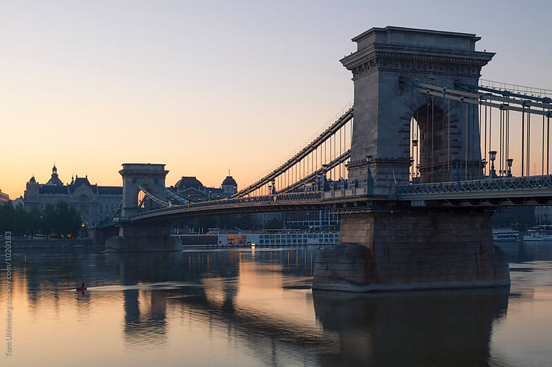 Budapest, Hungary - The Chain Bridge (Széchenyi lánchíd) at Sunrise by Tom Uhlenberg for Stocksy United
