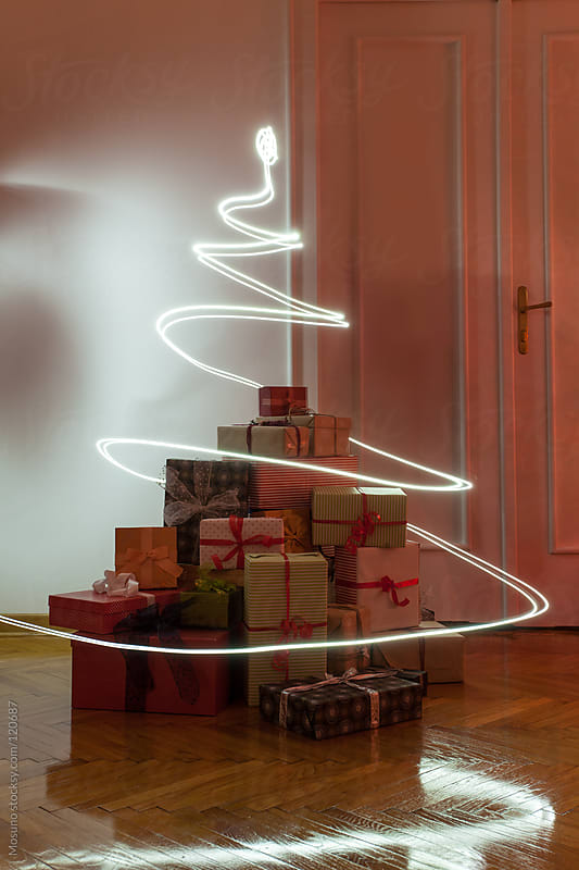 Christmas Presents and Lights in the Room by Mosuno for Stocksy United