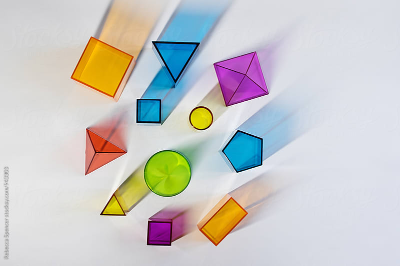 Colorful geometric shapes from above by Rebecca Spencer for Stocksy United