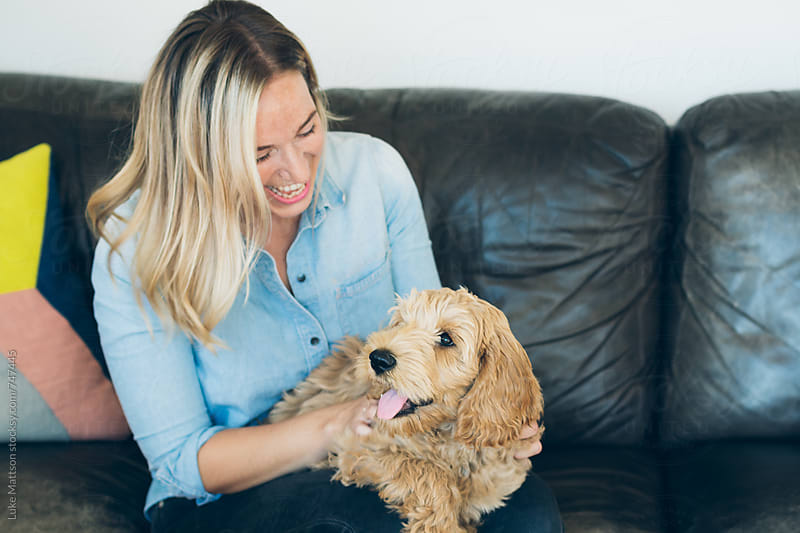 Happy Young Woman Sitting On Couch Holding And Petting Labradoodle Puppy by Luke Mattson for Stocksy United