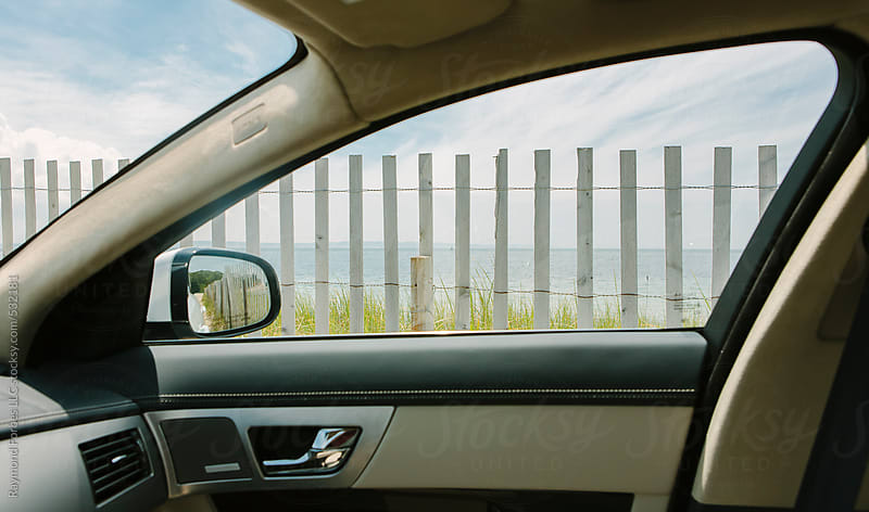 View out Car window Cape Cod, Massachusetts by Raymond Forbes LLC for Stocksy United