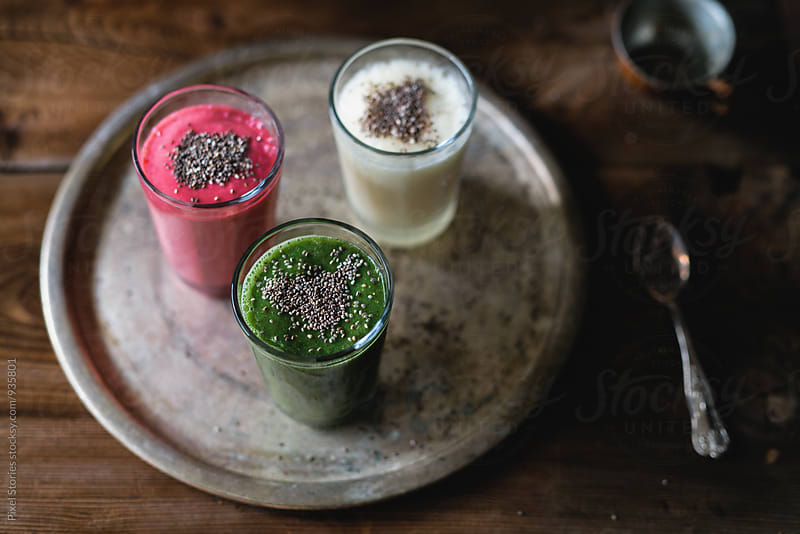 Tricolor smoothies by Pixel Stories for Stocksy United