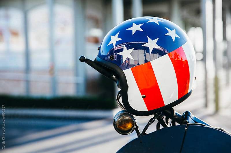American flag easy rider helmet by Curtis Kim for Stocksy United