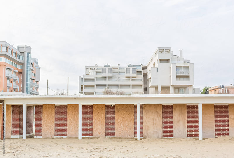 Beach cabins closed for the winter by michela ravasio for Stocksy United