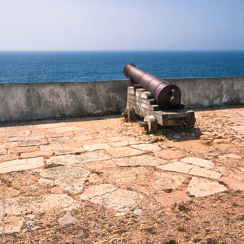 Cannon pointing to the ocean by ACALU Studio for Stocksy United