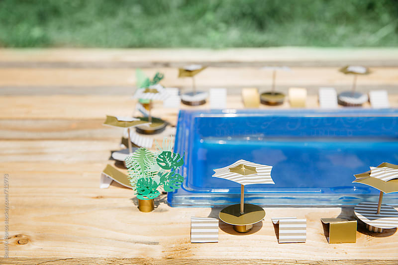 Swimming pool with in the nature with wooden floor by Beatrix Boros for Stocksy United
